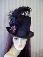 Kentucky Derby Top Hat BLACK Steampunk Hat Civil War Equestrian Victorian Hat .