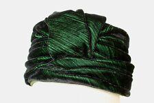 Gorgeous Vintage Women's Green Velour Velvet Toque Hat Norman Durand Original