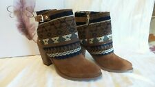 Jessica Simpson cassley canele brown combo split suede ankle boots size 6.5