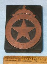 Antique ODD FELLOWS Copper Printing Block HEART IN HAND ENGRAVED STAR *MC Lilley