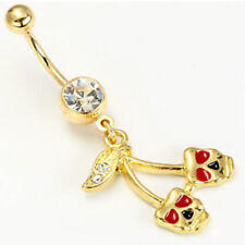 Gold Tone Cherry Theater Mask Gem Belly Ring Navel Naval (w892)