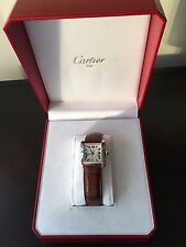 CARTIER 18K WHITE GOLD-MENS TANK FRANCAISE-AUTOMATIC-W/ BRAND NEW ALLIGATOR-MINT