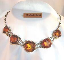Schönes Bernstein Collier Collierkette Silber Kette real amber necklace / AM 333