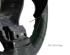 FITS DODGE RAM II 3500 BLACK PERFORATED LEATHER STEERING WHEEL COVER GREEN ST