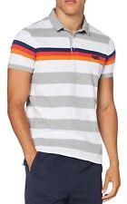Superdry Horizon Pique Polo Shirt New Mens Casual Top Grey Grit Stripe