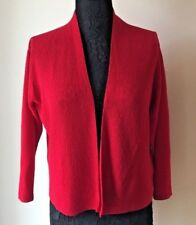 Eileen Fisher Sz M Classic Red Open Front Wool Layering Cardigan Career Shrug