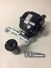 "New Willys Jeep Black Alternator One 1 Wire 12V 65A, 5/8"" Pulley, Bracket, Coil"