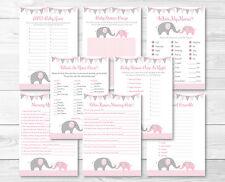Pink Elephant Chevron Baby Shower Games Pack - 8 Printable Games