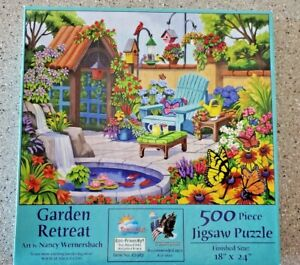 Sunsout GARDEN RETREAT - 500 LARGE Pc Puzzle - Flowers Birds - FREE Ship