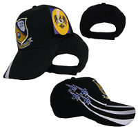 Blue Angels US Navy USN Embroidered Black Cap Hat (RUF)