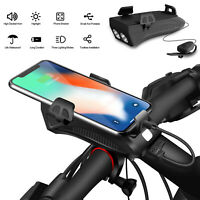 USB Rechargeable LED Bicycle Headlight Handlebar Bike Cell Phone / iPhone Holder