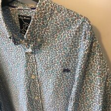 RAGING BULL Floral Leaf Print Cotton White Blue Brown Long Sleeve Shirt Size XL