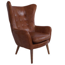 Vintage Real Leather Armchair Exeter Winged Armchair Leather Antique Design Classic