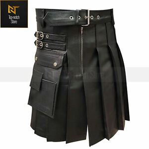 Real Cow Leather Kilt Scottish Pleated Style for Men LARP LGBTQ in Black , Brown