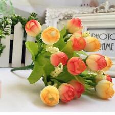15 Heads Artificial Rose Silk Fake Flower Leaf Decor Bridal Bouquet Orange US