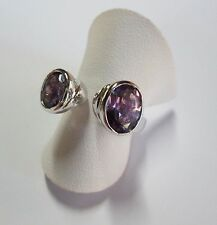 Sterling Silver Modern Style Dress Ring - Natural Stones - Amethyst