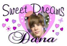 """JUSTIN BIEBER Personalized PILLOWCASE #2 """"SWEET DREAMS"""" Any NAME Super Soft"""
