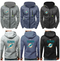 Miami Dolphins Hoodie Football Coat Casual Fleece Jacket Sports Sweatshirt Top
