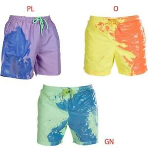 Men Summer Beach Shorts Color Changing Swim Trunks Drawstring Sport Pants S-3XL