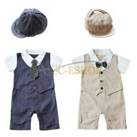 Newborn Baby Boy Suit Formal Tuxedo Bodysuit Romper Outfit HAT Clothes Set