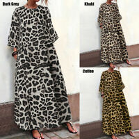 Women Leopard Print Long Sleeve Dress Summer Beach Party Loose Sundress Plus
