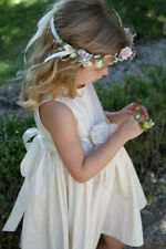 EUC Handmade Flower Girl Christening Country Dress, Ivory Size 6 - 12 Months
