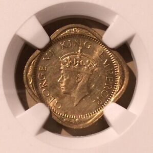 1942 B India 1/2 Anna NGC UNC DETAILS CLEANED - Nickel-Brass