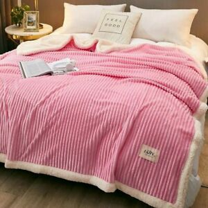 Coral Fleece and Lamb Wool Blankets Nap Throw King Size Thicken Soft Blanket