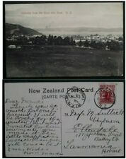 """RARE 1907 New Zealand Postcard """"Gisborne from River Side Road"""" to Hobart"""