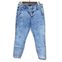 Wild FAble women's blue jeans denim 12 acid washed high waisted hi-waist
