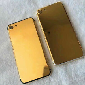 For iPhone 7 24K gold plated diamond back housing crystal battery back cover New