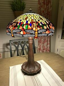 """Tiffany Style Drophead Dragonfly Table Lamp 25"""" High 18"""" Round Shade Decor"""