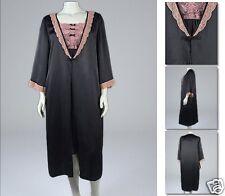 NEW! Zaftique SILKY BLACK W/ PINK LACE ROBE Sleepwear Lingerie 1Z 2Z / XL 1X 2X