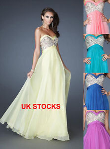 UK Stock Maxi Bling Bling Evening Gowns Formal Party Dress Size 8 12