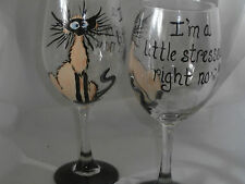 HAND PAINTED LITTLE BIT STRESSED SIAMESE CAT  WHITE WINE GOBLETS / SET OF 4-
