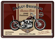 Harley Davidson Panhead Blechschild 10x14 cm Blechkarte 10198 Sign