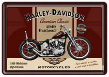 Harley Davidson Panhead Targa di latta 10x14 cm Mappa foglio 10198 Firmare