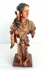 "12"" Inch Indian Girl Head & Bust Native Indio India Americano Statue American"