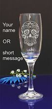 Personalised SUGAR SKULL engraved champagne glass for Birthday,Christmas gift140