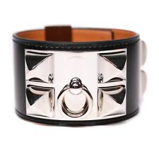 Hermes - CDC Bracelet - Silver Stud Black Leather Wide Adjustable