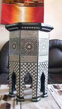 EGYPTIAN MOROCCAN INLAID MOSAIC MOTHER OF PEARL WOOD TABLE WITH STORAGE SPACE