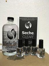 Seche Clear Refill Kit Crystal Clear Base Coat 16 oz + 4 free 0.5 oz bottles NEW