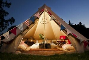Outdoor Waterpoof 3M Canvas Bell Tent Glamping Family Yurt Teepee Camping Tent