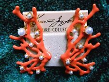 Kenneth Jay Lane Gold & Coral Pearl Dots Coral Branch Clip Earrings