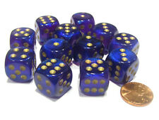 Borealis 16mm D6 Chessex Dice Block (12 Dice) - Royal Purple with Gold Pips