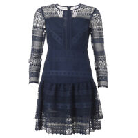 iBLUES MAX MARA Dress Navy Frill Lace BG