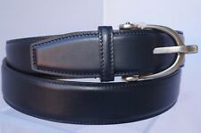 New Gucci Men's Blue Belt Signature GG Logo Buckle Size 44 110 Leather