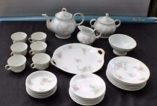 Antique JEAN POUYAT LIMOGES Bone China France FLOWERS Full Tea Set 29 Pieces
