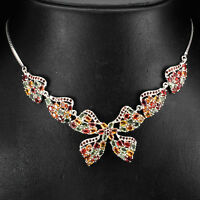 Sterling Silver 925 Genuine Natural Coloured Sapphire & Garnet Necklace 18.5 In