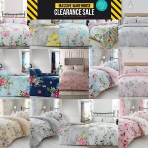 Floral Duvet Cover Set With Pillow Case Bedding Quilt Single Double Super King